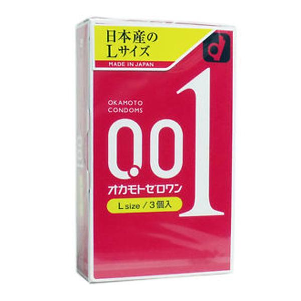 Okamoto 0.01 ZERO ONE L Size 1 กล่อง 3 ชิ้น